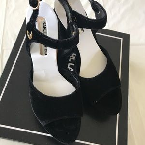 Karl Lagerfeld Debby2 Black Velvet Sandals